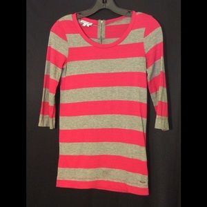Lacoste Pink and Grey Stripe Tee